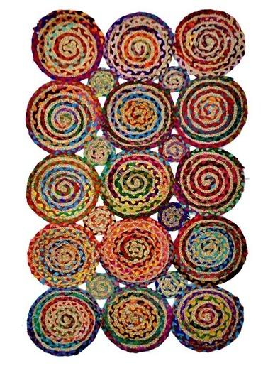 Giz Home Bolero Jüt Örgü Halı 80X140 D5-2211 Dikdörtgen Multi Renkli
